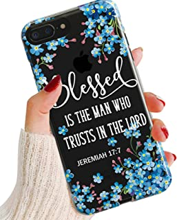 iPhone XR Case,Charming Blue Flowers Floral with Bible Verse Jeremiah 17:7 Blessed Inspirational Christian Religious Soft Clear Anti-Scratch Shockproof Bumper TPU Case Cover for iPhone XR