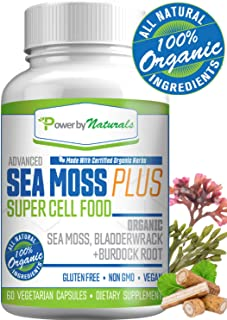 Organic Sea Moss Plus - Super Cell Food - Certified Organic Irish SeaMoss Bladderwrack Burdock Root Pills - 100% Natural, Vegan, Non-GMO, No Fillers, 60 Capsules - Cell-Food Alkaline Supplements