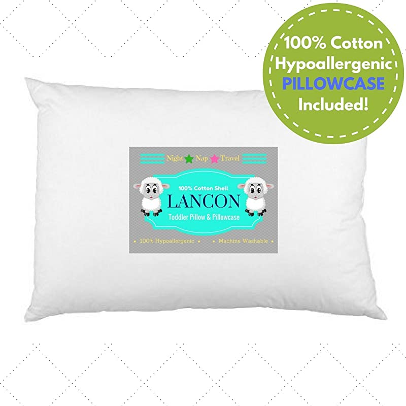Toddler Pillow With Pillowcase By LANCON Kids White 13 X 18 100 Cotton Premium Quality Soft Hypoallergenic Machine Washable Perfect Small Pillow For Kids Age 2