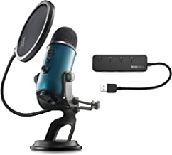Blue Microphones Yeti Teal USB Microphone with Knox Gear USB Hub and Knox Pop Filter (3 Items)