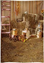 Funnytree 5x7FT Durable Fabric Haystack Autumn Farm Backdrop for Children Photography Natural Scenery Rural Apple Harvest Season Thanks Giving Photo Background Photocall Photobooth