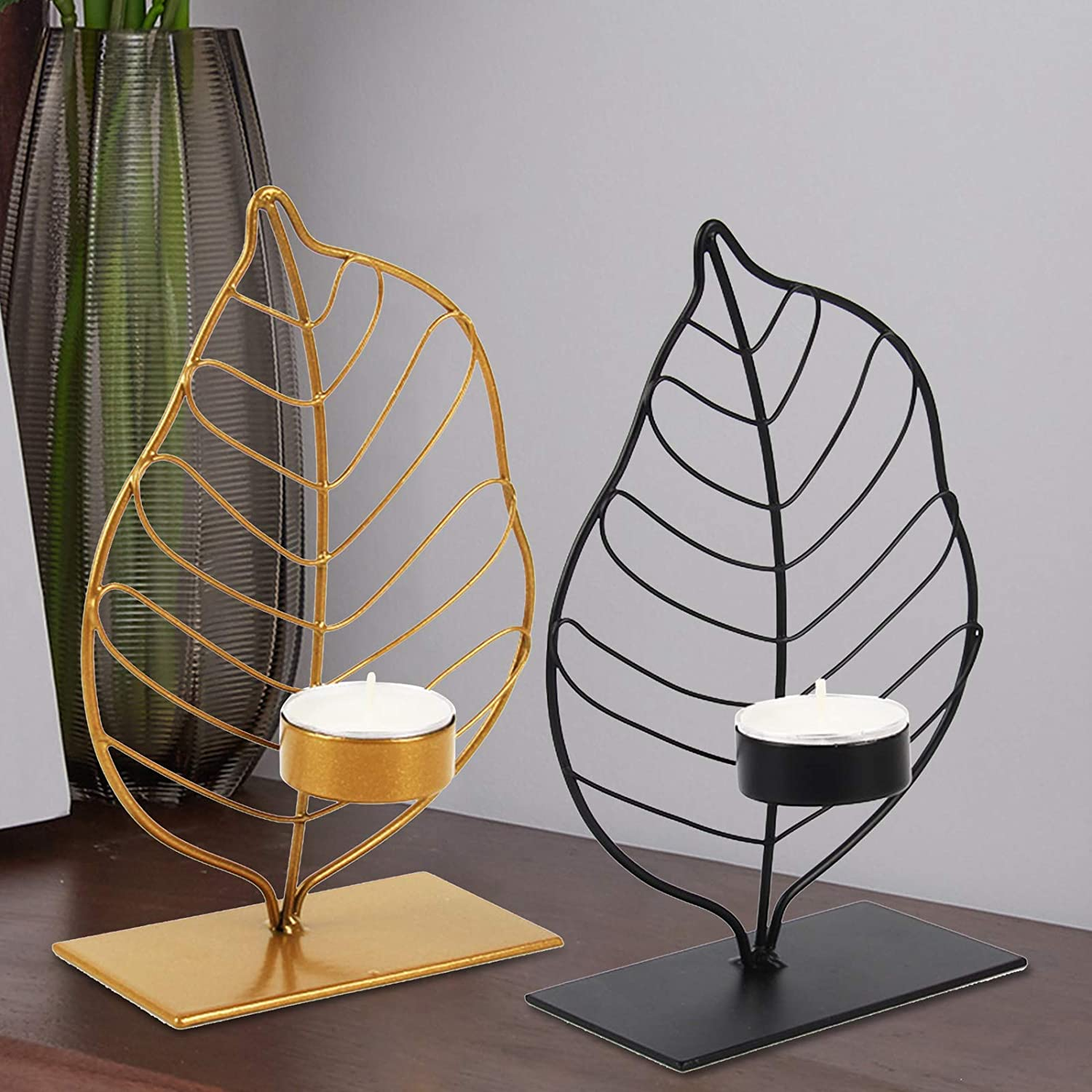 LINNSZ Nordic Style Leaf Candle Candlestick Holder Candela Topics New York Mall on TV Metal