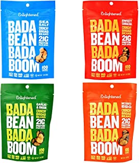 Enlightened - The Good for You Crisp Roasted Broad Beans Variety Pack 3 Ounce (Pack of 4) Garlic & Onion, Sriracha, Sea Salt, BBQ