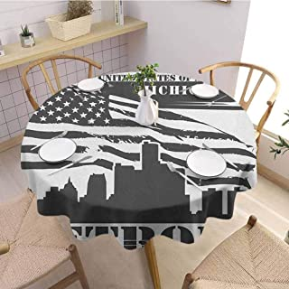 Luoiaax Detroit Elastic Edge fit Monochrome Grunge City Silhouette American Flag United States Michigan Suitable for Most Home Decor D70 Inch Round Charcoal Grey White