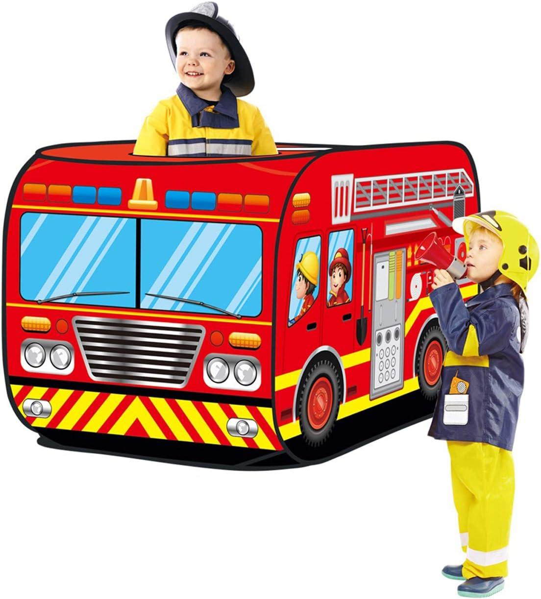 Feuerwehrauto form kinder kinder spielen zelt pop up spielhaus hause indoor