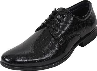 GUAVA Crocodile Textured Derby Shoe - Black