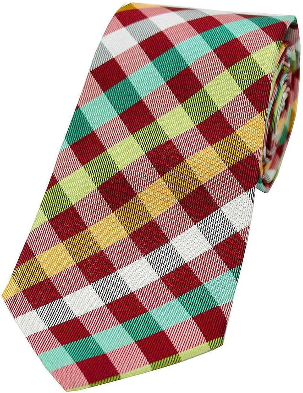 David Van Hagen Mens Checked Silk Tie - Red Multi-colour