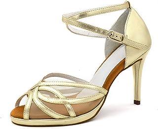 Dames Latin Dance Shoes Salsa Party Dance Shoes Lederen Waterdicht Platform Gouden Brons Hak 10cm Dansschoenen
