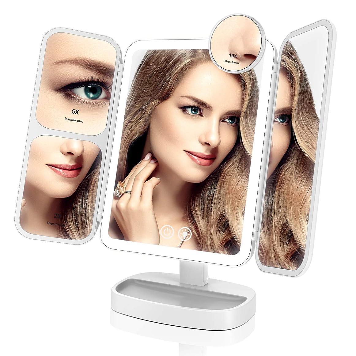 仲人クリア自体EASEHOLD 化粧鏡 化粧ミラー 卓上ミラー 鏡 LED付き 【最新バージョン】 リチウム電池 充電式 2&5&10倍拡大鏡付き 指タッチ 明るさ調節可能 プレゼント