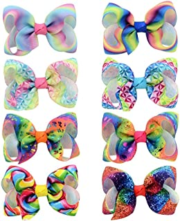 Gradient Color Bow Hair Clip Clips Girls Beautiful Hair Accessories- Best Xmas Present Stocking Filler for Girls(8PCS)