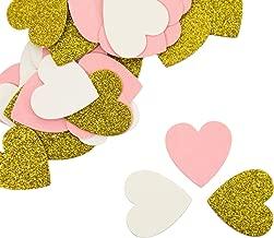 Oblique Unique® Papier Konfetti 36 STK. Rosa Schwarz Weiß Gold Silber mit Glitzereffekt als Tisch Streu Deko für Geburtstag Party Feier Hochzeit JGA Herzen Sterne Kreise - Formen wählbar (Gold-Herz)