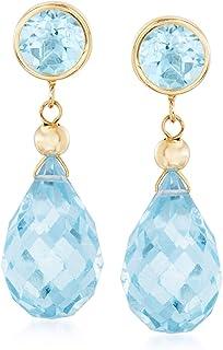 Ross-Simons 5.50 ct. t.w. Gemstone Drop Earrings in 14kt Yellow Gold