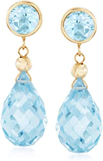 13.20 ct. t.w. Blue Topaz Drop Earrings in 14kt Yellow Gold