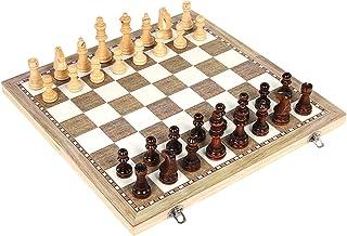 Jeu d'échecs 3 en 1 avec échecs internationaux en bois, jeu de voyage, exercices de réflexion intellectuelle.