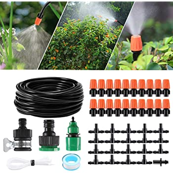 Zerodis Misting Cooling System,4//7mm Watering Tubing,Misting Nozzle Sprinkler,Faucet Adapter Outdoor Garden Patio Greenhouse Micro Drip Irrigation Kit 5M Watering Set