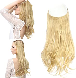 Blonde Halo Hair Extension Secret Invisiable Flip Hidden Wire Crown Natural Curly Long Synthetic Hairpiece For Women Japan Heat Temperature Fiber SARLA 18