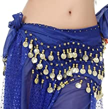 WAYDA Hip Scarf for Belly Dancing, Women's Sweet Belly Dance Hip Scarf with 128 Gold Coins Skirts for Bellydance, Zumba or...