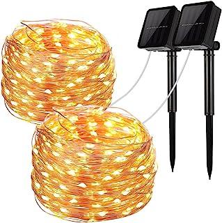 LiyuanQ Solar String Lights, 2 Pack 100 LED Solar Fairy Lights 33 Feet 8 Modes Copper..