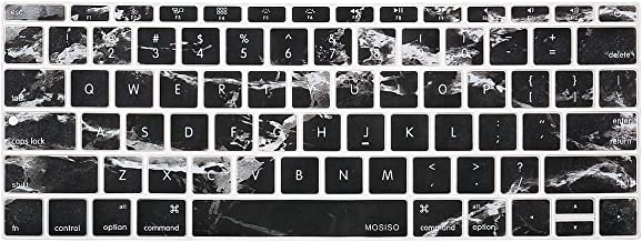 MOSISO Silicone Keyboard Cover Protective Skin Compatible with MacBook Pro 13 inch 2017 & 2016 Release A1708 Without Touch Bar, MacBook 12 inch A1534, Black Marble
