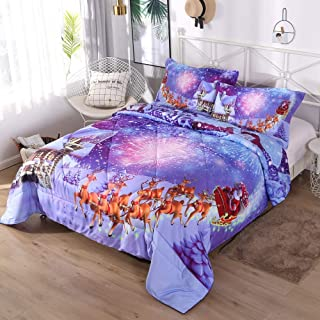 ENCOFT Reindeer and Cottage Comforter Bedding Sets Twin/Full/Queen Size 3 Pieces, tence Cotton Christmas Comforter Sets with 2 Pillowcases
