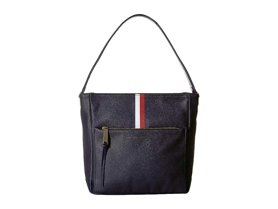 Tommy Hilfiger Althea Pebble PVC Hobo (Tommy Navy) Handbags