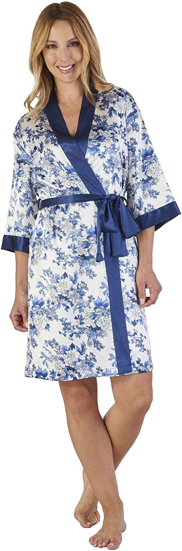 Slenderella GL2774 Women's Floral Satin Floral Loungewear Dressing Gown