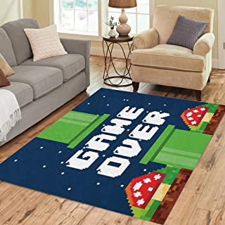 Pinbeam Area Rug Video Pixel Game Over Interface Fungus Colorful Videogame Home Decor Floor Rug 5' x 7' Carpet