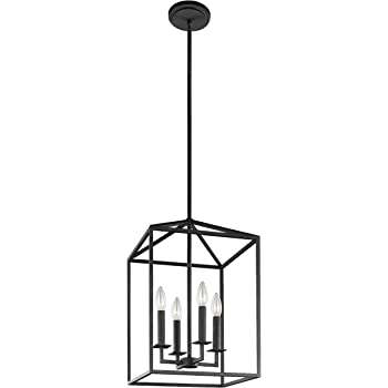 Sea Gull Lighting 5215004-839 Perryton Small Four-Light Hall / Foyer Hanging Modern Light Fixture, Blacksmith Finish