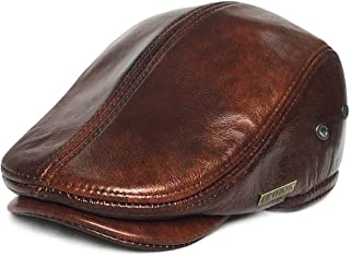 Flat Cap Cabby Hat Genuine Leather Vintage Newsboy Cap Ivy Driving Cap