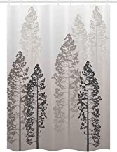Printing Farmhouse Decor Stall Shower Curtain, Pine Trees in The Forest on Foggy Ombre Backdrop Wildlife Adventure Artwork, Polyester Shower Curtain for Bathtub Showers, 60 x 72 Inches Light Grey