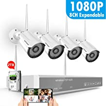 [2TB Hard Drive Pre-Install] Full HD 1080P Security Camera System Wireles,SAFEVANT CCTV Kits 4PCS 2MP Indoor Outdoor Wireless IP Cameras with Night Vision