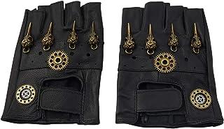 KOGOGO Steampunk Leather Gloves Mens Gothic Fingerless Mittens