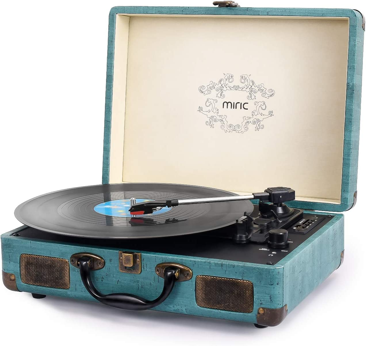 Record Player, Miric Suitcase Record Player with Speakers, 3 Speed Belt-Drive Vinyl Turntable, Portable Phonograph Record Player for 7/10/12inch Vinyl Records, Support USB/SD Vinyl Record Player