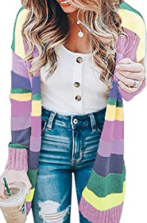 OURS Women's Casual Long Sleeve Striped Kimono Cardigan Color Block Knit Open Front Sweater Coat