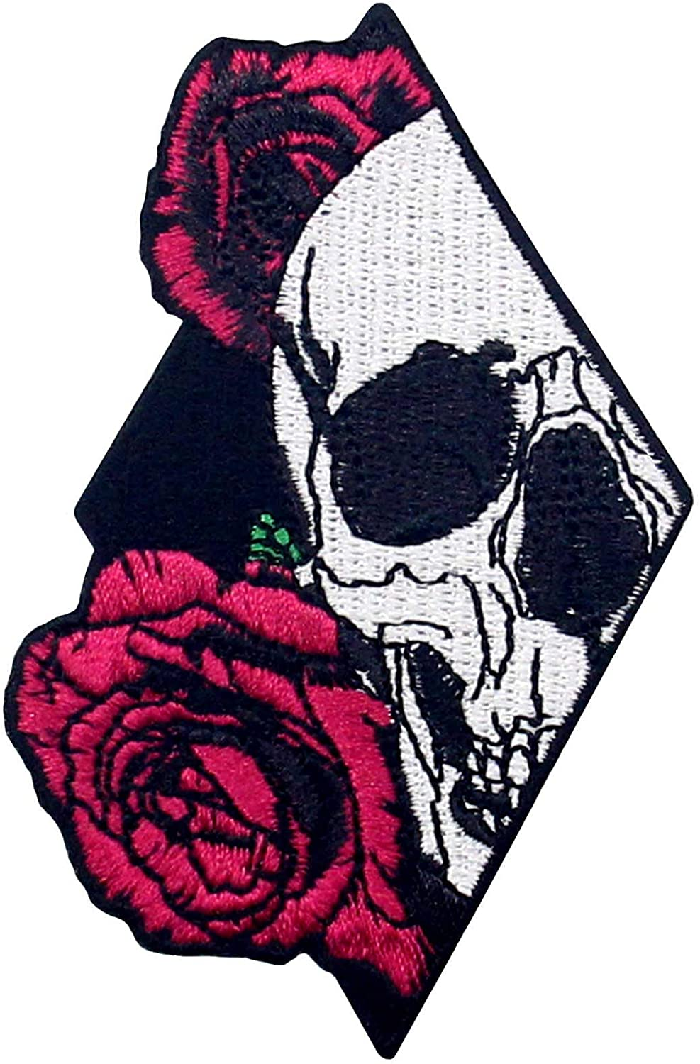 Skull Colorado Springs Mall and Rose Patch Embroidered Iron Emblem On Applique Wholesale Sew
