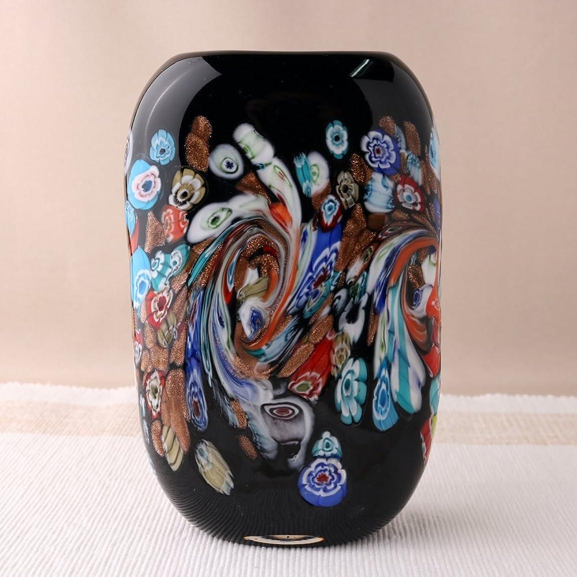 天使痴漢速記食洗機対応 手づくり ガラス花瓶 瑠璃紋様 ブラック QD-185