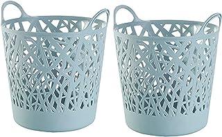 CASAGOOD Plastic Laundry Basket | Hollowed-Out Laundry Basket with Handle | Good Flexible Laundry Basket | Used as Plastic Laundry Basket and Toy Hamper 2 Set (Light Blue)