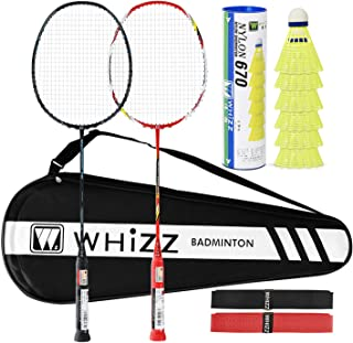 WHIZZ Heavy Duty Graphite Badminton Racket, Full Carbon Fiber Professional Set for Adults with Badminton Bag & 2 Racquet Grip