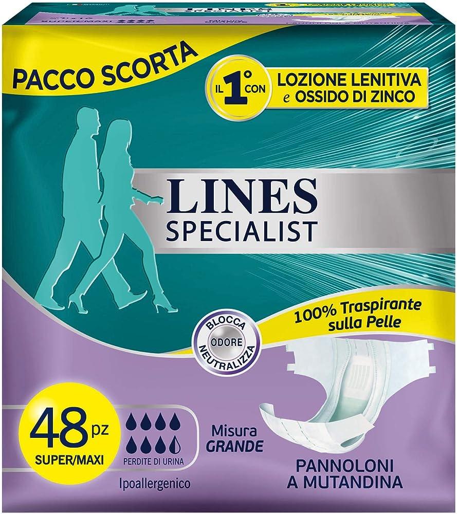 Lines specialist ,pannolone a mutandina, 48 assorbenti per incontinenza uomo e donna, taglia l 2750062