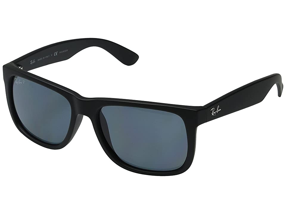Ray-Ban RB4165 Square 55mm (Black Rubber/Dk Blue) Plastic Frame Fashion Sunglasses