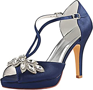 Emily Bridal Scarpe da Sposa da Donna Deep Blue Punta a Punta Stiletto Strass Elegante Imitato Silk Pump Shoes spos