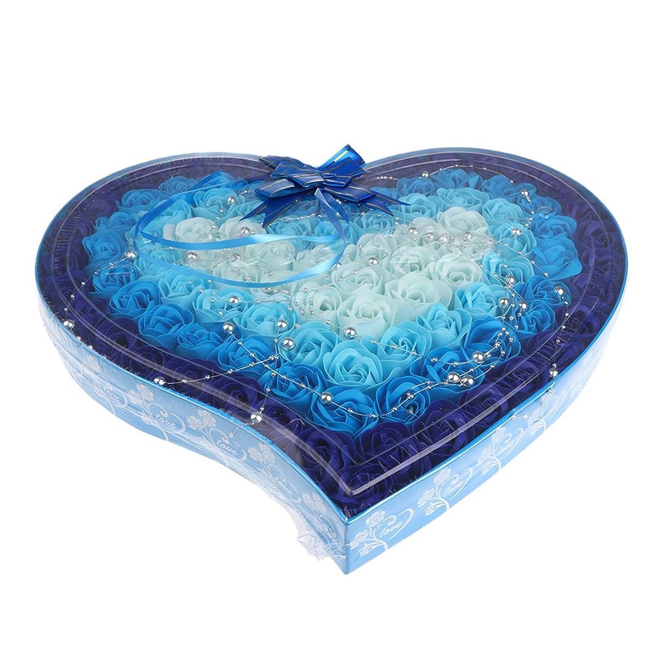 封建豆価値のないKesoto 石鹸の花 造花 ソープフラワー 心の形 ギフトボックス  母の日   バレンタイン プレゼント 全4色選べる - 青