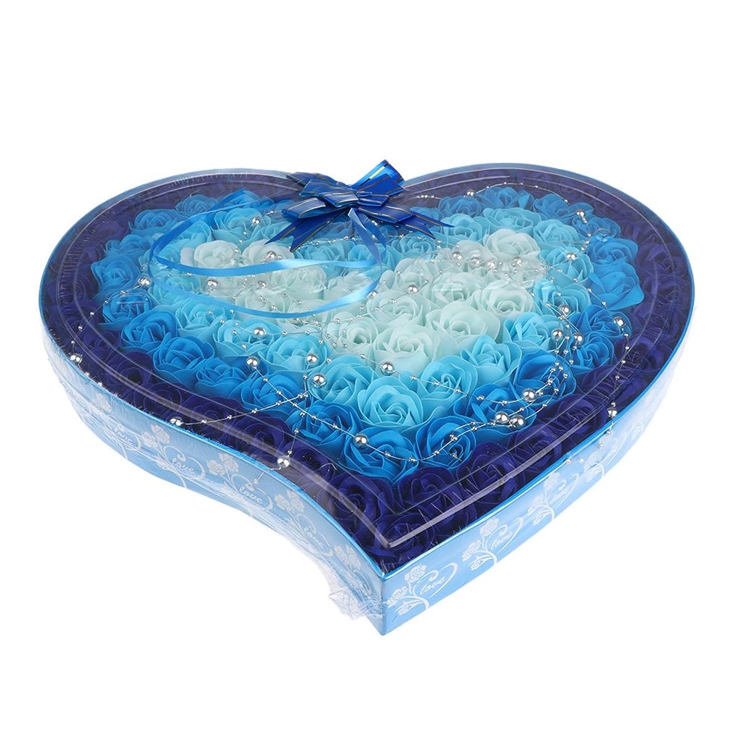 中間配管工有望Kesoto 石鹸の花 造花 ソープフラワー 心の形 ギフトボックス  母の日   バレンタイン プレゼント 全4色選べる - 青