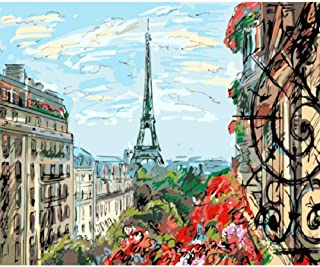 RENWUANG Paint by Numbers for Adults Kits, DIY Acrylic Oil Painting Kit for Adult Beginner on Canvas - Hand Drawn Eiffel Tower Pattern -16x20 in