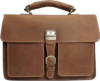 Men's Crossbody Business Bag Crazy Horseskin Retro Handbag Briefcase First Layer Leather Shoulder Bag (Color : Brass, Size : M)
