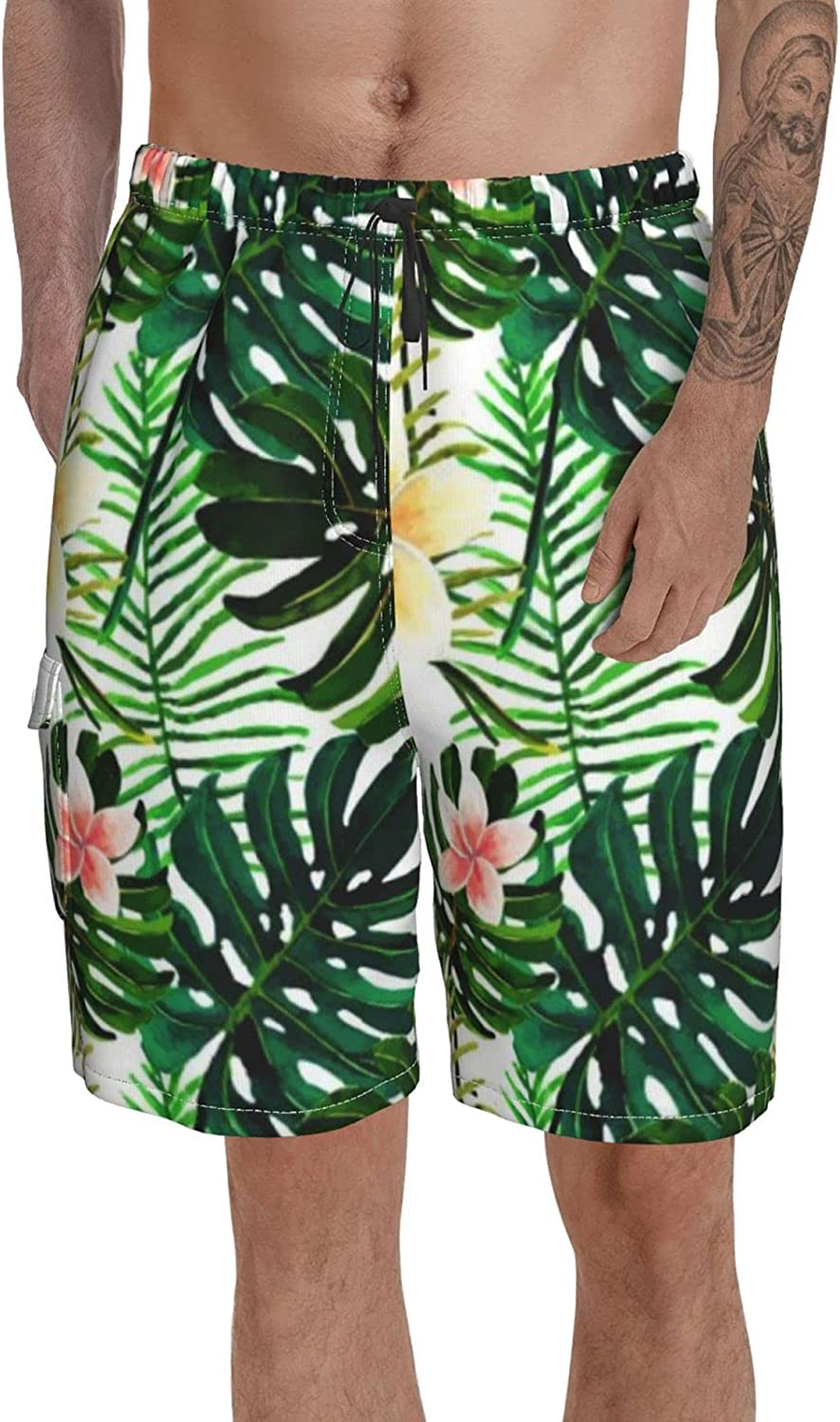 Printed Swimming Trunks for Men Volley Shorts Parrot Tropical Flowers Leaves Knee Length Bathing Suit with Pockets