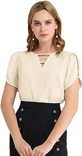 Allegra K Women's Cutout Round Neck Slashed Sleeve Casual Top Shirt