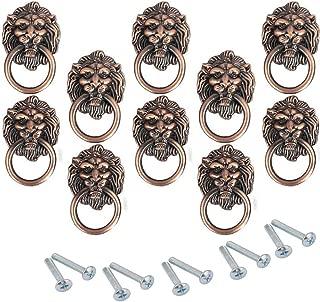 Lheng Lheng 67X40 Antique Red Bronze Zinc Alloy Cartoon Lion Head Knobs Cabinet Handles Door Hardware Handles Cupboard Closet Drawer Pulls 10Pcs