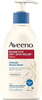 Aveeno Diabetics' Dry Skin Relief Lotion with Triple Oat Complex & Natural Shea Butter, Steroid-Free & Fragrance-Free Dime...