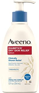 Aveeno Diabetics' Dry Skin Relief Lotion with Triple Oat Complex & Natural Shea Butter, Steroid-Free & Fragrance-Free Dimethicone Skin Protectant for Diabetic Skin Care, 12 fl. oz